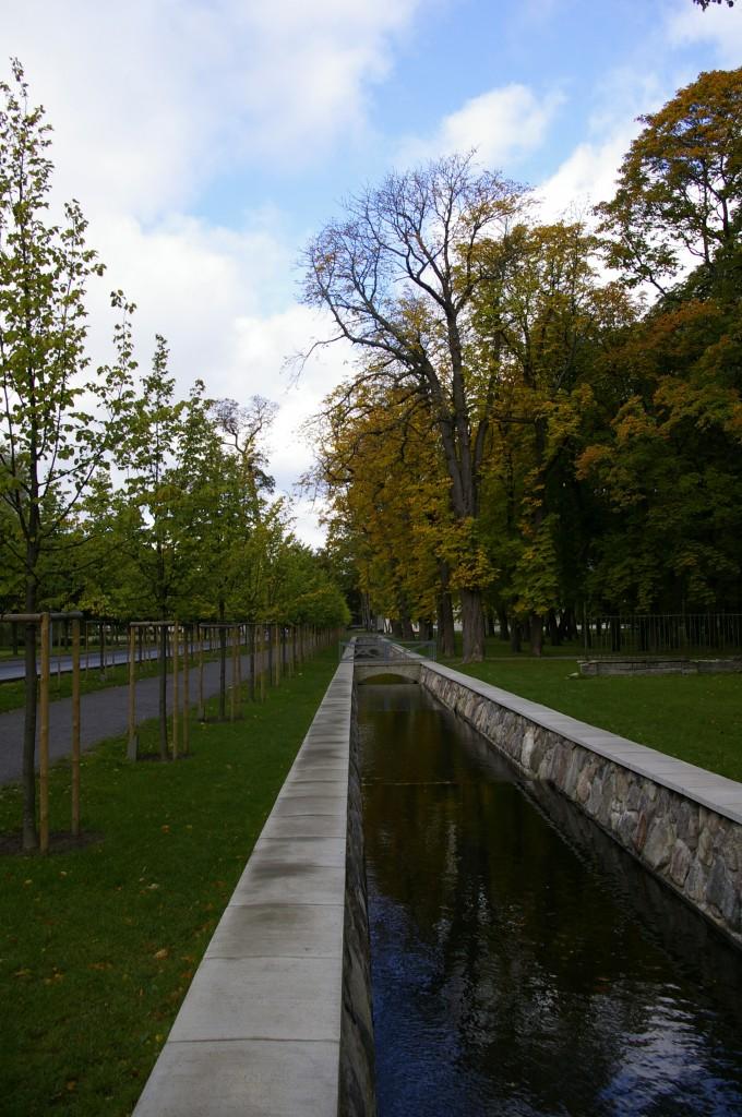 Liepų alėja ir nedidelis kanalas